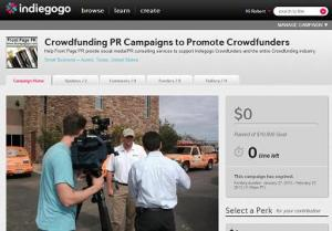 Front Page PR provides a crowdfunding profile service that will help you offer a very succinct and interesting crowdfunding profile that will excite customers and entice them to support your fundraising campaign with their hard-earned dollars.