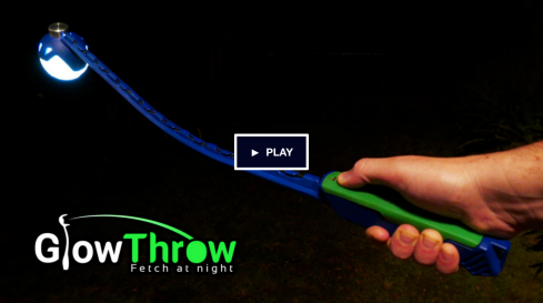 GlowThrow is the world's only pet-friendly designed glow-in-the-dark fetch game for playing fetch at night