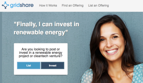 GridShare enables everyday people to invest in renewable energy projects and clean tech companies