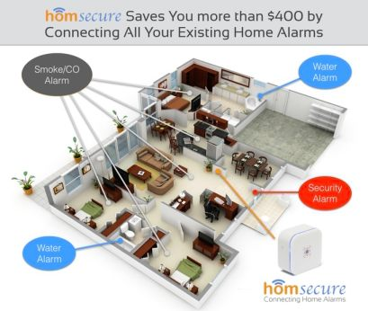 Homsecure is a smart WiFi device that connects your existing home alarms and provides alerts on your phone when you are away