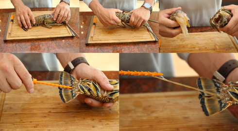 Scott Mobley demonstrating how simple it is to prepare lobster using the Lobster Deveining Tool