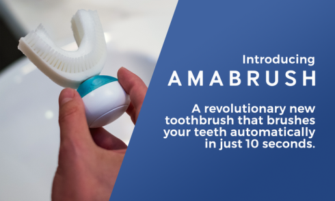 Amabrush is the world's first, fully automatic toothbrush that brushes all your teeth at once, fully automatic, and finishes in just ten seconds