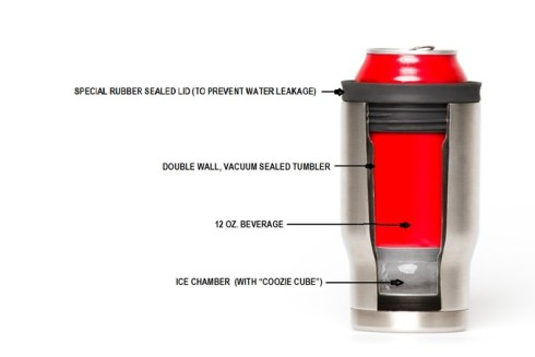 The Coldest Coozie has a watertight, screw-on top that holds any 12 0z can on top of a 2-inch thick Coozie Ice Cube