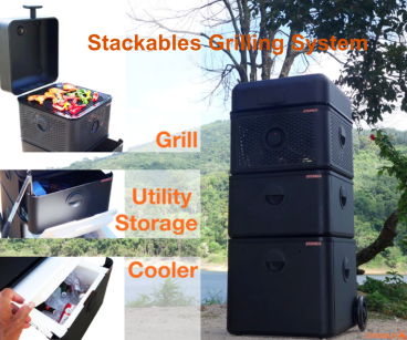 The STCKBLS Grill system, a stackable, modular, portable and complete BBQ grilling system