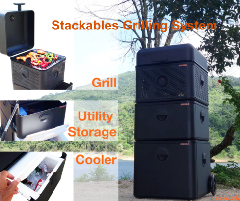 TheSTCKBLSGrill system, a stackable, modular, portable and complete BBQ grilling system